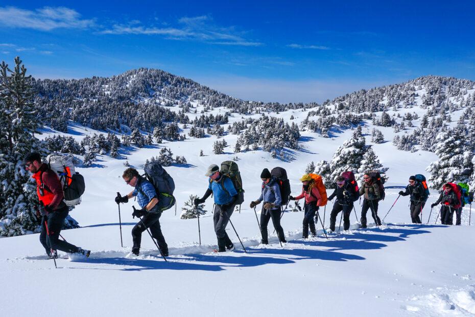 sneeuwschoenwandelen in een groepsreis